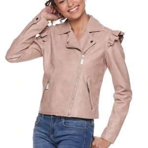 Jackets & Blazers - [NWT] vegan leather ruffled shoulder Moto jacket